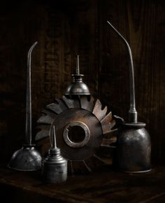 Oil Cans #2, photograph by Harold Ross. Light Painting, Still Life, Sculpting with Light, Light Painting, Vintage tools, Vintage machinery