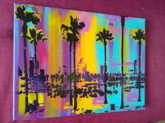 Abstract painting of California landscape acrylics spray paint