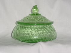 Green Depression Glass Candy Dish by LIZZARD101 on Etsy, $35.00