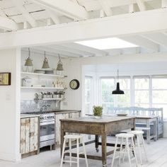 Plain, casual (welcoming, unpretentious) kitchen island.  BUT!, you can't slide your knees under it when sitting at the island!