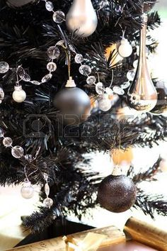 er and black balls and gold candles and crackers grey christmas tree gold christmas - Christmas Black And White