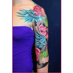 flowers and wings by Ivana Tattoo Art: Tattoo Inspiration - Worlds Best Tattoos Tattoos For Women Half Sleeve, Best Tattoos For Women, Trendy Tattoos, Women Sleeve, Tatoo Art, Body Art Tattoos, Girl Tattoos, Purple Tattoos, Flower Tattoos