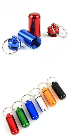 6pcs 5*1.7CM Colorful Waterproof Outdoor Camping Travel Traveling Portable Aluminum Pill Box Case Bottle Storage Drug Holder Container Keychain Key Ring (6)