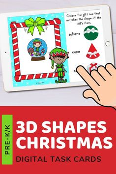 Kids will help the Christmas Elf choose the correct gift box to match the 3d shape of their item. 20 real like objects included. Use these task cards as a fun center to improve math skills in preschool and kindergarten. This digital resource is compatible with google classroom and seesaw and perfect for distance or homeschooling.  #digital #boom #task cards #math #count #number #pre-k #preschool #kindergarten #shape #christmas #santa #elf #gift #present #3d Christmas Math, Christmas Activities For Kids, Christmas Snowman, Family Christmas, All Things Christmas, Christmas Holidays, Interactive Learning, Learning Games, Easy Arts And Crafts