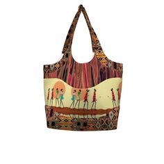Betz White Smile & Wave Tote made with Spoonflower designs on Sprout Patterns. Walk the earth in style with this African inspired bag by Maryyx and Floramoondesigns.