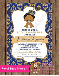 Custom Printed African American Royal Prince Baby Shower Invitations  - 1.00 each with envelope