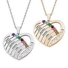 Mom Birthstone & Name Heart Pendant