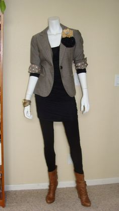 Daily Look:  CAbi Fall 12 Ponte Legging, Shimmy Tunic and Barrister Blazer with cool boots and mixed media flowers at the lapel.