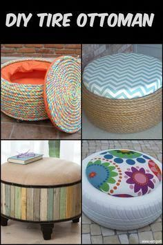 DIY Tire Ottoman : Turn old tires into beautiful ottomans! The only limit is your imagination. Turn old tires into beautiful ottomans! The only limit is your imagination. Turn old tires into beautiful ottomans! The only limit is your imagination. Tire Furniture, Diy Furniture Decor, Furniture Projects, Furniture Makeover, Antique Furniture, Outdoor Furniture, Western Furniture, Retro Furniture, Diy Home Crafts
