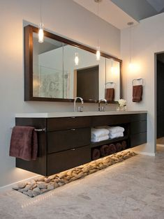 Around The House – How Suspended Furniture Can Add Space To Your Home contemporary bathroom by Ryan Duebber Architect, LLCcontemporary bathroom by Ryan Duebber Architect, LLC Floating Bathroom Vanities, Floating Vanity, Small Bathroom, Bathroom Ideas, Master Bathroom, Bathroom Pink, Bathroom Storage, Master Baths, Bath Ideas