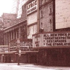 Street movie theater marquees, Times Square, New York City Yonge Street, 42nd Street, Home Nyc, Downtown Toronto, Cult Movies, Great Films, American Horror Story, Vintage Photographs, New York City
