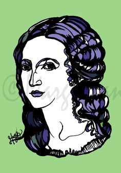 Francesca Caccini, ink portrait of Italian female composer, musician, music wall art, poster, fine art, baroque, classical, beauty, unusual