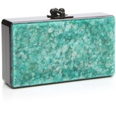 Edie Parker Green Mica Jean Clutch with Black Acrylic Ribbon (1,560 CAD) ❤ liked on Polyvore featuring bags, handbags, clutches, edie parker, lucite handbag, black clutches, acrylic purse and lucite box clutch