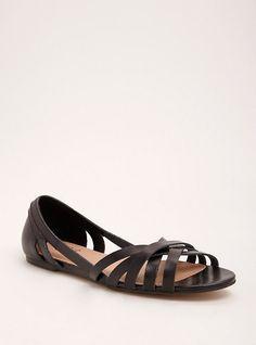 db8b74130ba6 Plus Size Strappy Peep Toe D Orsay Flats (Wide Width)