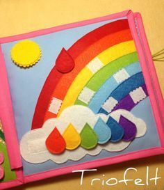 Quiet book busy book soft book activity book felt book by Triofelt - Kinder Ideen Diy Quiet Books, Baby Quiet Book, Felt Quiet Books, Silent Book, Rainbow Pages, Sensory Book, Quiet Book Patterns, Busy Book, Learning Colors