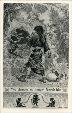 The Demons no Longer Feared Him. Frank Cheyne Papé illustration for an edition of Thaïs (Part III, The Euphorbia) by Anatole France, Art Illustration Vintage, Black And White Illustration, Book Illustrations, Ex Libris, Anatole France, English Artists, Dark Art, Art Forms, Les Oeuvres