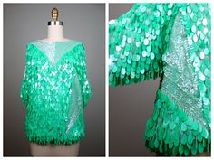 ELECTRIC Mint Green Sequin Blouse / All Over Fringe Sequined Top / Paillette Embellished Top by Oleg Cassini by braxae on Etsy