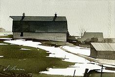 "Joseph Alleman / 2004 / Winter Barn   / Watercolor / 6"" x 9"""