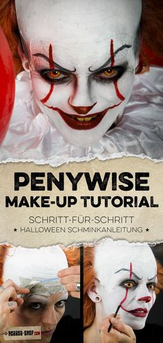 Pennywise step-by-step make-up instructions & video make-up tutorial! - Pennywise step-by-step make-up instructions & video make-up tutorial! Halloween Zombie Makeup, Scary Halloween, Pretty Halloween, Fete Halloween, Eyeliner Tutorial, Makeup Tricks, Es Pennywise, Pennywise Costume For Kids, Mardi Gras