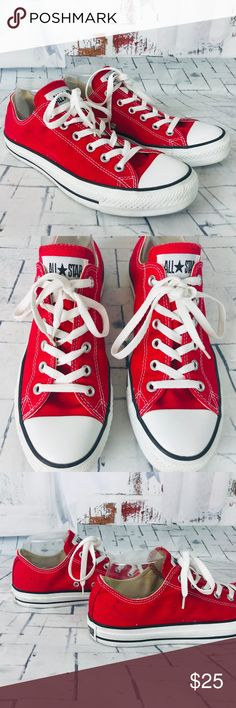 huge discount 427a5 3a62b CONVERSE Chuck Taylors All Star Red Sneakers CONVERSE Chuck Taylors All Star  Red   White Sneakers