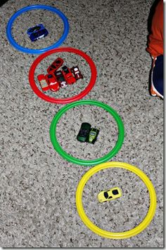 twister hopscotch rings for color sorting