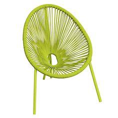Chaise verte forme œuf pour enfant