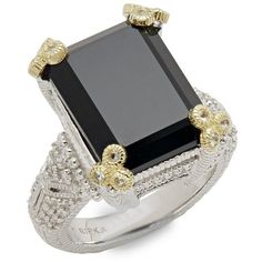 Judith Ripka Estate Black Onyx, White Sapphire & Sterling Silver Ring (156.840 HUF) ❤ liked on Polyvore featuring jewelry, rings, silver, emerald cut ring, fine jewelry, sterling silver jewelry, sterling silver fine jewelry and judith ripka rings
