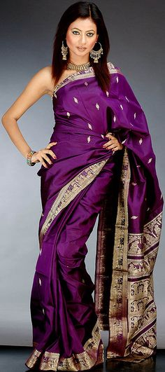 Purple Baluchari Sari - mythological designs (?)
