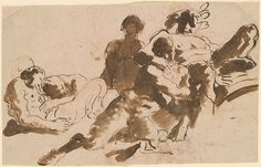 Giovanni Battista Tiepolo 1696-1770 Bacchus and Fauns Pen and brown ink, brown wash, over red chalk, on brown laid paper. 7 3/4 x 12 3/8 inches (197 x 314 mm)