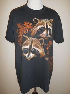 Vintage 80s 90s Raccoon  tee t shirt         by ATELIERVINTAGESHOP