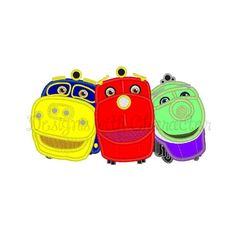 Chugging train applique machine embroidery design 3 sizes