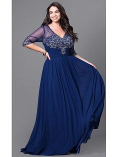 d0adba1fc48e A-Line Length Sleeves V-Neck Beaded Long Black Plus Size Prom Evening  Dresses 99502017