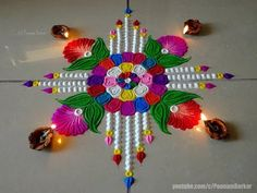 Diwali special very easy and unique rangoli Indian Rangoli Designs, Rangoli Designs Flower, Colorful Rangoli Designs, Rangoli Ideas, Beautiful Rangoli Designs, Mehandi Designs, Sanskar Bharti Rangoli Designs, Kolam Rangoli, Diwali Decorations