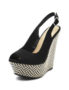 Tribal Raffia Slingback Wedge from Charlotte Russe. The tribal pattern adds a really nice touch :)