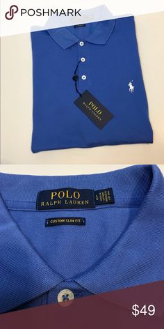 Polo Ralph Lauren Light Blue polo with white Polo logo. Size L Custom Slim  Fit c7919dfa25403