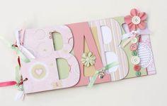 Baby scrapbook album, premade scrapbook, word chipboard album, baby shower gift, newborn, baby girl, pink-BG17