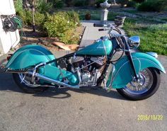 Stunning turquoise '48 Indian Chief motorcycle