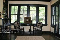 Exterior Wood Trim Black Windows 48 Ideas For 2019 Black Crown Moldings, Moldings And Trim, Black Molding, Black Window Trims, Black Windows, Black Doors, Black Trim Interior, Dark Trim, White Trim
