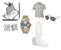 """""""Bugs Bunny inspired male set"""" by justveryara on Polyvore featuring RVCA, 21 Men, NIKE, ONES STROKE, Rolex and Blue Nile"""