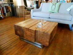Three beam reclaimed wood coffee table.
