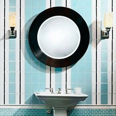 In small spaces, such as a powder room, tiles installed on end draw the eye upward and make the ceiling appear higher. Ann Sacks Collection tile in Tropic Gloss and Ice Cube, $24.96 per square foot; annsacks.com | Photo: Michael Casey | thisoldhouse.com