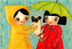 RAINY day PUG darling cute wall art PRINT of an original by tascha