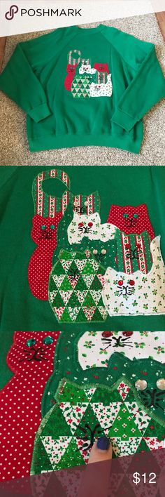 """‼️SALE‼️ Festive Cat Ugly Christmas Sweater Large Festive Cat Sweatshirt perfect for an ugly Christmas sweater party. Cat appliqué with gem eyes. One of the cats is missing their eyes, which can easily be fixed! Let out your inner crazy cat lady! Unisex sweatshirt sizing. Size large. 22.5"""" across the bust and 27"""" from shoulder to hem. Tops Sweatshirts & Hoodies"""