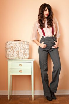 -cute sheer white blouse, gray high waisted pleated pants, red suspenders, black shoes business like spring/summer/fall/winter outfit-