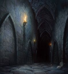 """They passed row upon row of caskets, their smudged name plaques glinting in Lita's candlelight. """"Wait!"""" [Lita cried] Mally turned to her and watched as she lit a tall candelabra. Mally was amazing Lita had even noticed it. Its silver was so tarnished it was the exact same color as the wall. """"So we can find our way back,"""" Lita explained. #booklines #TheTaleOfMallyBiddle // Glimpse Into Utterdark by ~M0AI on deviantART"""