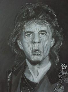 Pastel portret op zwart papier A3 formaat Mick Jagger, A3, Pastel, Painting, Cake, Painting Art, Paintings, Drawings
