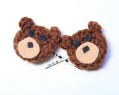 Bear hair pins Crochet bobby pins Brown bear hair by MsAmandaJayne, $15.00