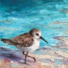 """Surf & Sandpiper"" original fine art by Krista Eaton Watercolor Bird, Watercolor Paintings, Bird Painting Acrylic, Beach Paintings, Watercolours, Oil Paintings, Coastal Art, Bird Drawings, Pictures To Paint"