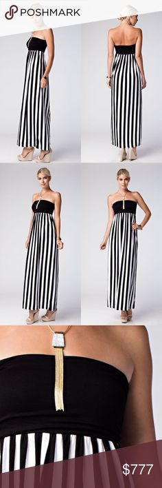 5ce12e41d6 Tube top Dress maxi Black and white vertical stripe tube dress maxi. Love  this dress as a vacation summer dress! Price is firm unless bundled.