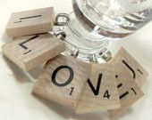 scrabble tile wine glass charms, fun idea